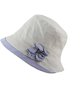 Sombrero Cloché para la Primavera Verano Chicas Mujeres Color Puro Contraste Flor Sombrero de Pesca