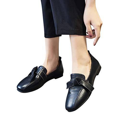 Mymyguoe Damen Flach Pumps Feste Farben Quadratischer Kopf Schleife Schnalle Strap Lackleder Leichte Einzelne Schuhe beiläufige Arbeit Schuhe Frühling und Herbst Low Schuhe Abend Schuhe