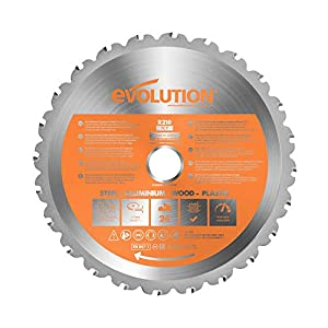 Evolution Power Tools R210TCT-24T (Rage) Multi-Material TCT Blade Cuts Wood, Metal and Plastic, 210 mm