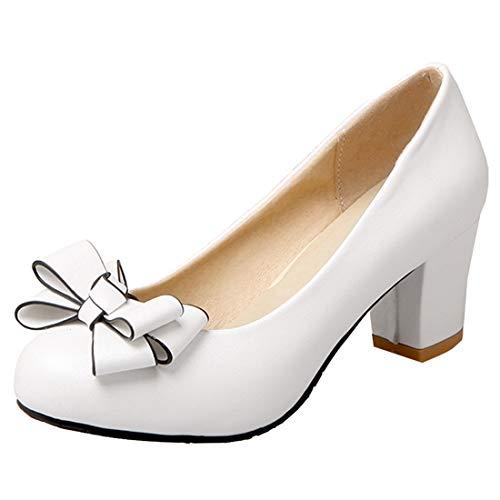 Artfaerie Damen Rockabilly Pumps Blockabsatz Schleife Vorne Chunky Heels 6cm Slip on Schuhe (EU 41,Weiss) Schuhe Chunky Heel