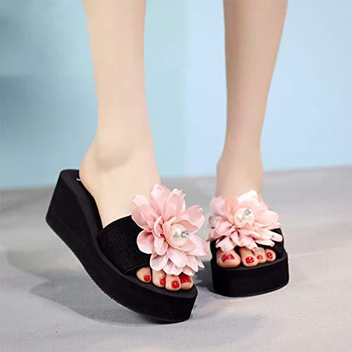 Banbie8409 Womens Perle handgemachte Blumen Plattform Flip Flops Wedge Strand Thong Sandals (Pink-6cm - 41-347#) Plattform Thong Sandal