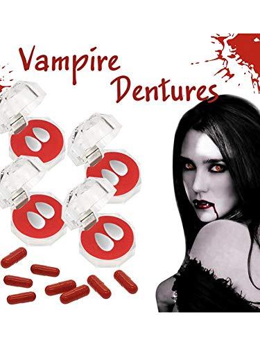 Am Kostüm Paare Besten Einfach - hinffinity Vampire Zähne Gefälschte Zahnersatz Cosplay Requisiten Mit Blutkapseln Halloween Kostüm Requisiten Party - 4 Paare (geben Plastikblutkapseln Nach Dem Zufallsprinzip)