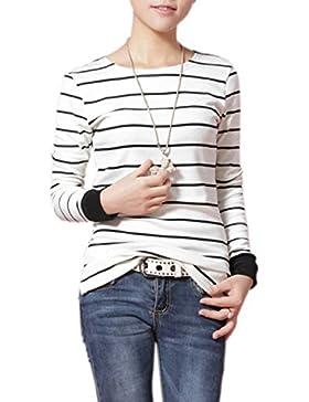 Minetom Mujer De Manga Larga De Cuello Redondo Camiseta a Rayas Tapas De La Blusa Camiseta Shirt