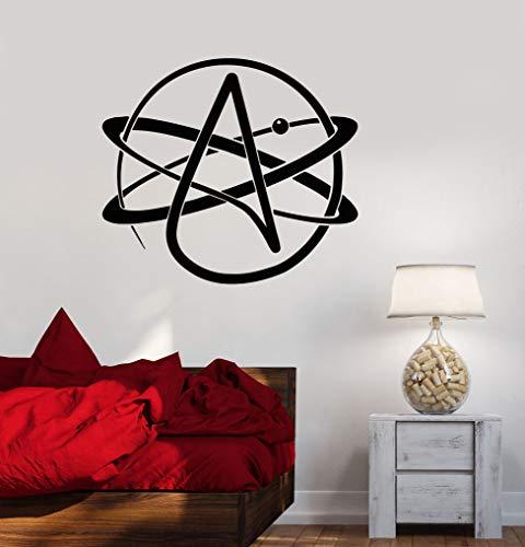 YIYEBAOFU Wandkunst Aufkleber Seavinyl Wandtattoo Atheismus Symbol Atom Wissenschaft Atheist Art Sticker Büro Schule Klassenzimmer Mural70x63cm