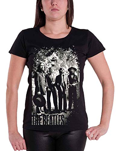 The Beatles T Shirt Tittenhurst Lampost offiziell Damen Nue Schwarz Skinny fit -