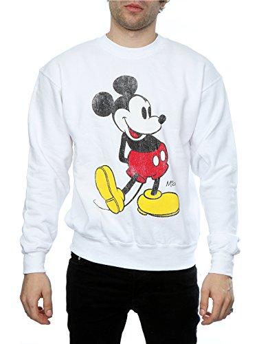 Disney Herren Mickey Mouse Classic Kick Sweatshirt Weiß