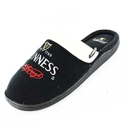 Mens Guinness Novelty Mule Slippers - Black/Cream - UK 7
