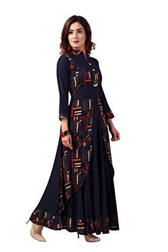 Madhuram Textiles Women's Rayon Gown Style Kurti (M-2082 L_Blue_Large)
