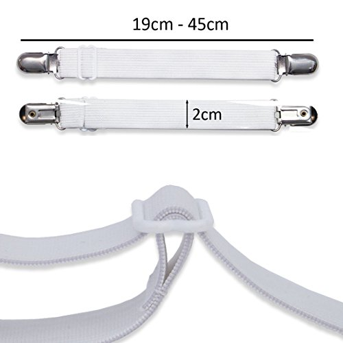 JJOnlineStore 4Pcs Expendable Bed Sheet Fasteners Grippers Suspenders/Ironing Board Cover Fasteners/Bed Sheet Holders/Bed Sheet Strap Multipurpose