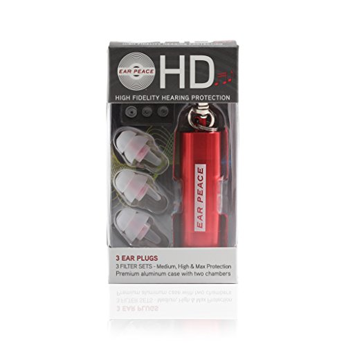 EarPeace HD Tapones de Oídos para Conciertos – Protección Auditiva de Alta Fidelidad para Festivales, DJs y Músicos (Tapones Transparentes, Funda Roja)