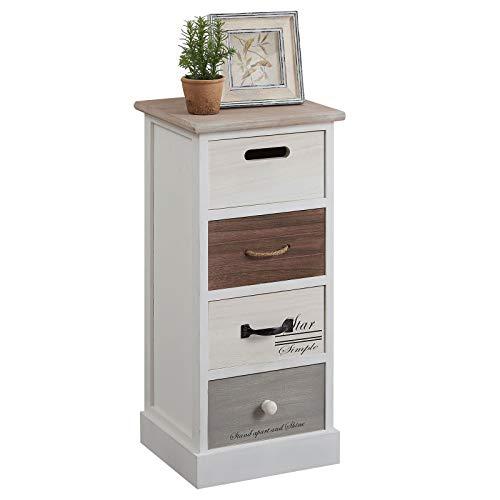 CARO-Möbel Schubladenregal Salva Kommode Standregal Aufbewahrungsregal in weiß, Shabby Chic Vintage Look, mit 4 Schubladen (Kommode 4 Griffe)