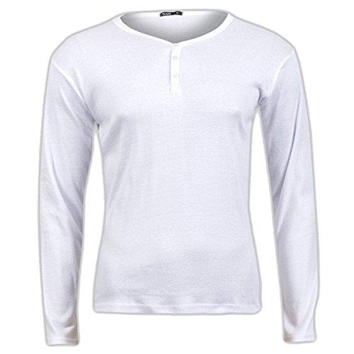 Jules Henley Y-Neck Longsleeve T-Shirt Langarmshirt Herren tolle Passform Herrenshirt mit Knöpfen Weiß