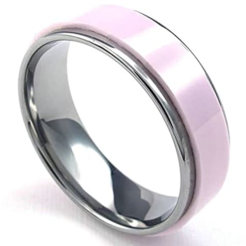 Gnzoe Jewelry,Mens Tungsten Ceramic Rings Bands Ceramic Pink Silver Size J 1/2
