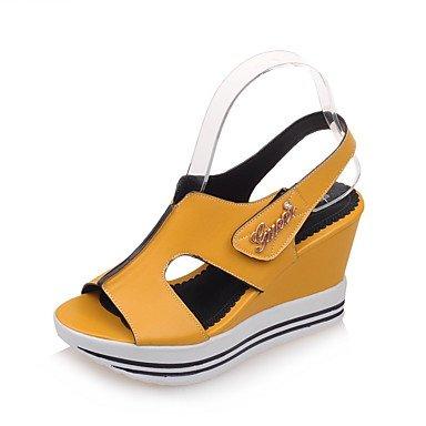 LFNLYX Donna Sandali Estate Liane Comfort cinturino alla caviglia PU Office & carriera atletica Cuneo Casual tacco & gancio ad anello blu Nero Bianco Giallo Yellow
