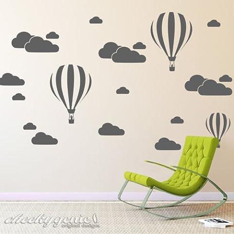 Nuvole e aria calda palloncini per cameretta bambini adesivo da parete, Pink, -Medium -SIZE 90cm x 45cm (36