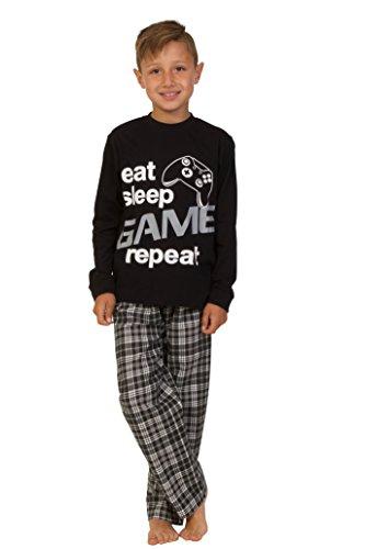 Pijama largo para niños con mensaje: «Eat Sleep Game Repeat», talla de 9 a 13 años, color negro Negro negro 15-16 años