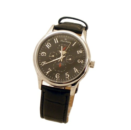 Louis Ardens Catania by Oskar Emil Automatic Multifunction Watch with Black Leather Strap for Men