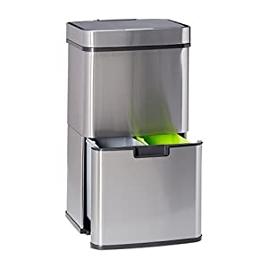 Relaxdays Waste Separation System with 3 Compartments, with Sensor, 60 L, 3 Bins, Pullout, Stainless Steel, HxWxD: 74.5 x 42 x 31.5 cm, Silver, 31.5 x 42 x 74.5 cm