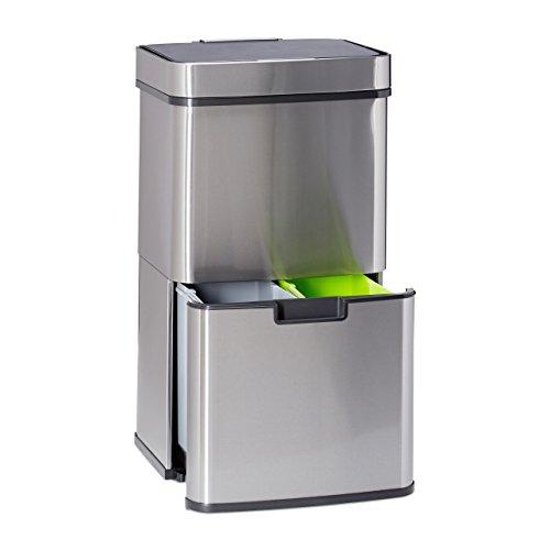 #Relaxdays Mülltrennsystem 3 fach, mit Sensor, 60 L, 3 Mülleimer, ausziehbar, Edelstahl, HBT: 74,5 x 42 x 31,5 cm, silber#