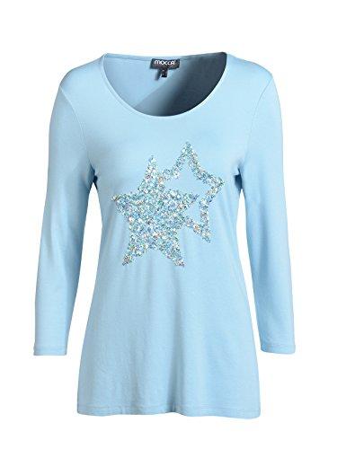 Mocca by J.L. Damen Shirt mit Sternenapplikation Hellblau