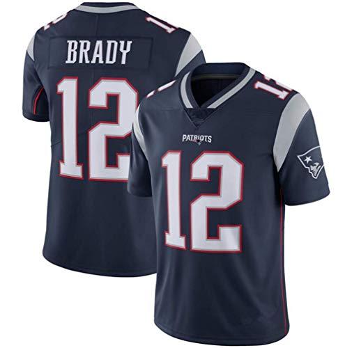 Majestic Athletic NFL Football Patriot 12# Brady T-Shirt Jersey Bequem und Atmungsaktiv Trikot,Black,L