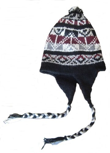 Alpacaandmore Unisex mehrfarbige Chullo Strickmütze Alpakawolle Einheitsgröße (Alpaka Chullo Strickmütze)