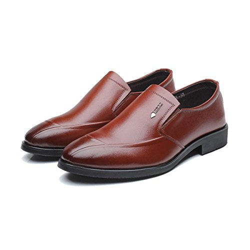 LYZGF Gentleman Seasons Business Casual Scarpe Comode In Pelle Pigra Di Mezza Età Brown