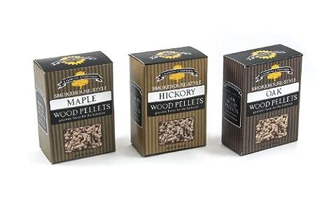 Charcoal Companion Smokehouse-Style Wood Pellets Set (Hickory/Maple/Oak) -