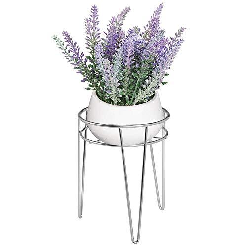 mDesign Midcentury Pflanzenständer für Blumen, Sukkulenten aus Metall - runder Blumenständer im modernen Design - platzsparende vielseitig nutzbare Blumensäule für drinnen und draußen - silberfarben