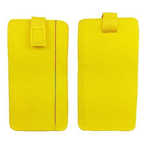 handy-point 5,0'' Filztasche Tasche Hülle aus Filz für Samsung, iPhone, Sony, Lenovo Moto, Huawei, Alcatel, Gigaset, Medion, Neffos, Geräte mit Max.14,2x7,3xx1cm (Gelb)