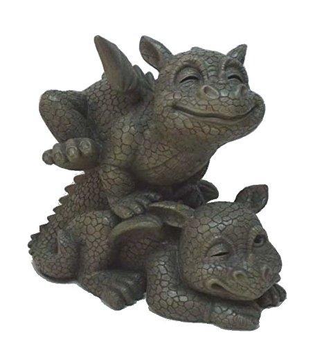 2 Süsse Gartendrachen beim Bockspringen Drache Figur Gargoyle