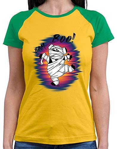 l Shirt Bam Boo Pandabär Mumie Halloween Kostüm Verkleidung Karneval Inkl. Geschenk Karte Gold/Kelly Green XXL ()