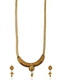 Reeti Fashions - Gold Tone Studded Necklace Set With Beaded Chain For Women (RF17_10B_87)