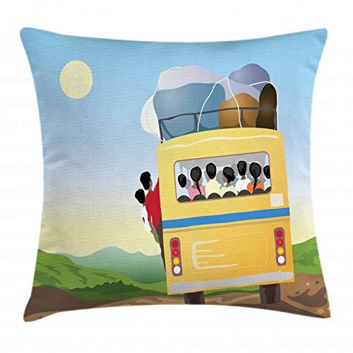ABAKUHAUS Karikatur Kissenbezug, Überfüllten gelben Bus, Waschbar mit Reißverschluss Kissenhülle mit Farbfesten Klaren Farben Beidseitiger Druck, 50 x 50 cm, Mehrfarbig -