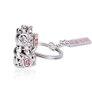 AUFODARA Solid metal Lucky Fortune Cat Keyring Keychain (Silver)