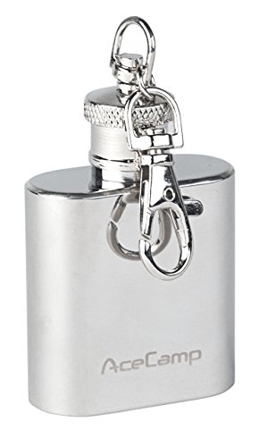 AceCamp Schlüsselanhänger Flachmann, 30ml, 55g, aus hochwertigem Edelstahl, Schraubverschluss, Silber, 1510