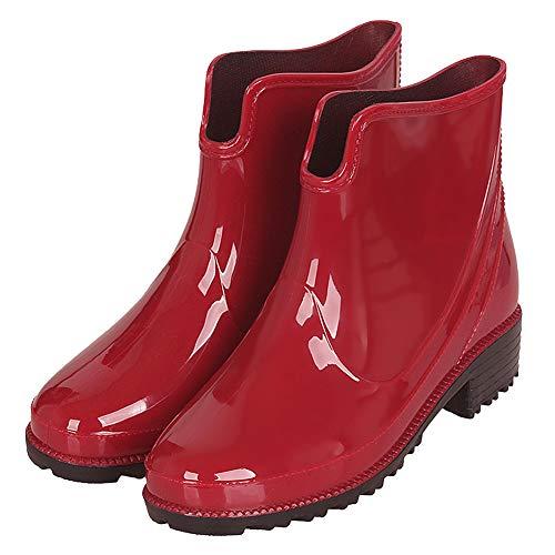 CCZZ Damen Gummistiefelette Kurze Gummistiefel Fashionable Regenstiefel Reitstiefelette Stiefel Rain Boot Regenstiefelette Gr. 36-43 -