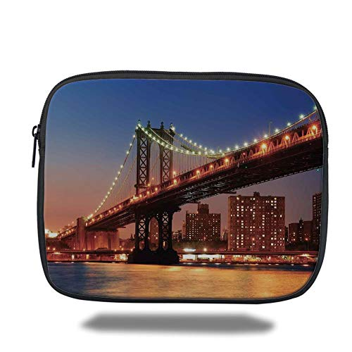 Laptop Sleeve Case,New York,Manhattan Bridge with Night Lights Over Hudson River Brooklyn Popular Town Image,Blue Orange,Tablet Bag for Ipad air 2/3/4/mini 9.7 inch - New York-slim Briefcase