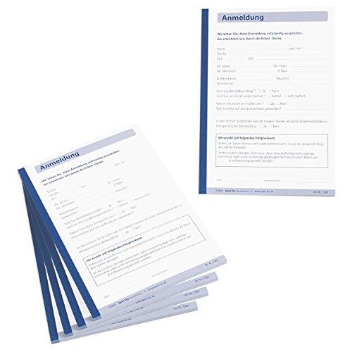 Anmeldung Vordruck Behandlung Therapie Anmeldeformular 5Blöcke à 50 Blatt DIN A6 - Behandlung Blatt