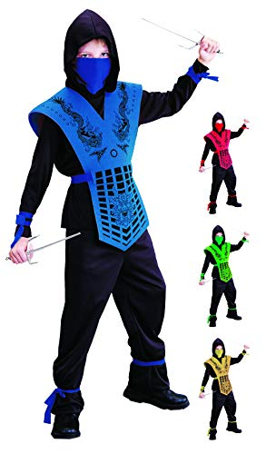 Kostüm Verkleiden Jährigen 2 - Foxxeo schwarz blaues Ninja Kostüm für für Jungen schwarzes Ninjakostüm Kinderkostüm Größe 122-128