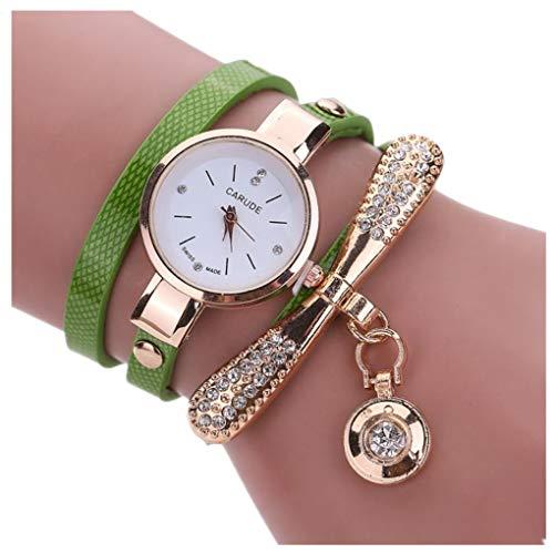 Dorical Uhren Damen Frauen Armbanduhren Günstige Uhren Casual Analoge Quarz Uhr/Klassische Mädchen Uhr Lederne Rhinestone Uhr analoge Quarz Armbanduhren Großes Geschenk(Grün)