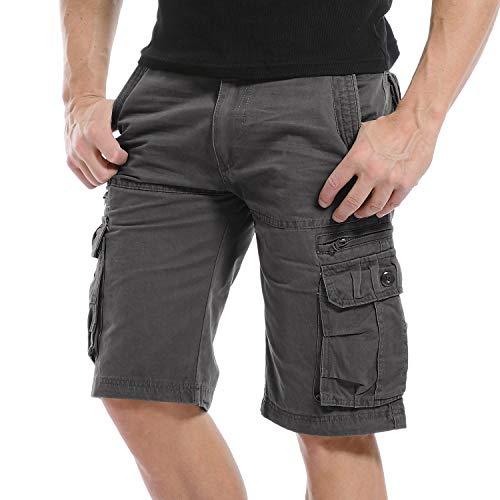 Yidarton Bermuda Shorts Herren Sommer Kurze Hose Outdoor Casual Strandshorts Chino Cargo Shorts mit 6 Tasche Reine Farbe/Tarnung (ohne Gürtel) (Style1-Dunkelgrau, XXL)