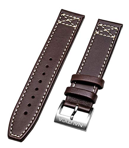 Nautica Men's N17648G BFD 101 Classic 20mm Brown Leather Original Replacement Watch Band/Strap