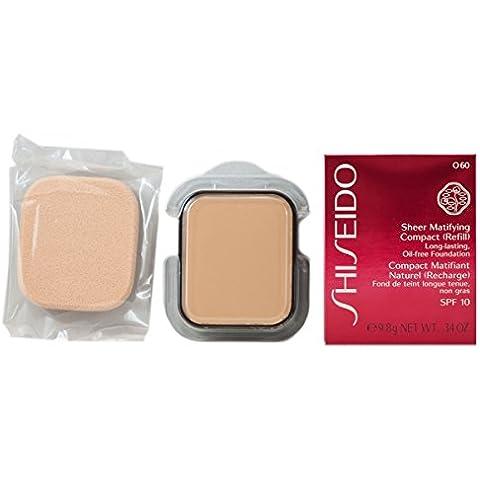 Fundación Shiseido femme / mujeres, Sheer Matificante Compacto Recambio Número O60 Natural profundo Ocre, 1er Pack (1 x 10 ml)
