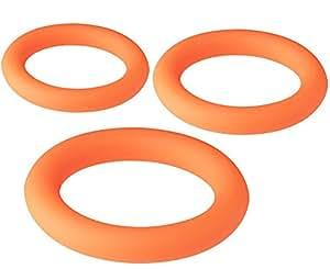 Dream Toys Neon Stimu Cockring 3er Set, Durchmesser circa 3, 2/3, 7/4,2 cm orange