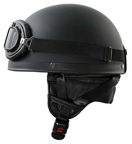 ATO-Helme Oldtimer Motorradhelm mit Brille Größe: XL 61cm, Schwarz matt
