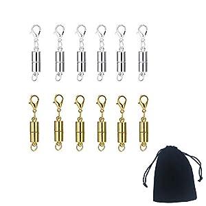 12 Stücke Magnet Karabinerverschluss Halskette Magnet Verschluss Extender mit Aufbewahrungstasche,Magnetverschluss Magnetische Schmuckverschlüsse für Schmuck Halskette Armband,Silber und Gold