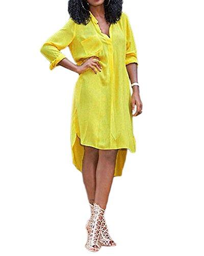ZANZEA Femme Mode Sexy Robe De Soirée Asymétrique Manches Longues Dress Partie Tunique Top Jaune