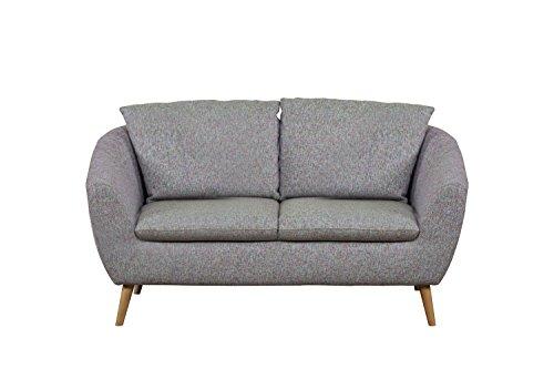 Cavadore 2-Sitzer Sofa Flira mit Rückenkissen / Kleines Sofa im modernen skandinavischen Design mit Holzfüßen in Buche natur / Geeignet für Küche oder...