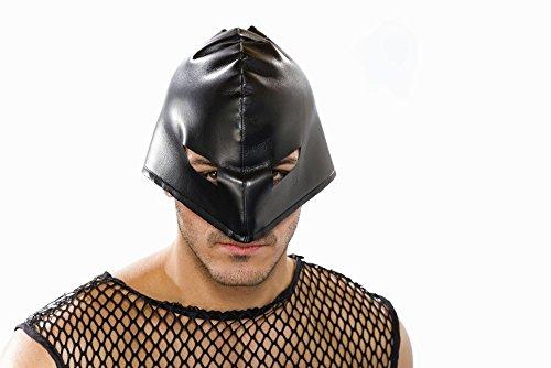 Kostüm Zubehör geschnürte Maske schwarz SM Henker Karneval Fasching ()